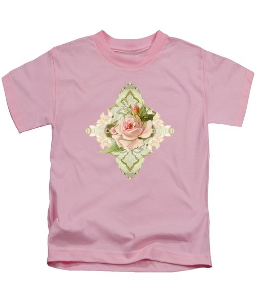 Summer At The Cottage - Vintage Style Damask Roses Kids T-Shirt
