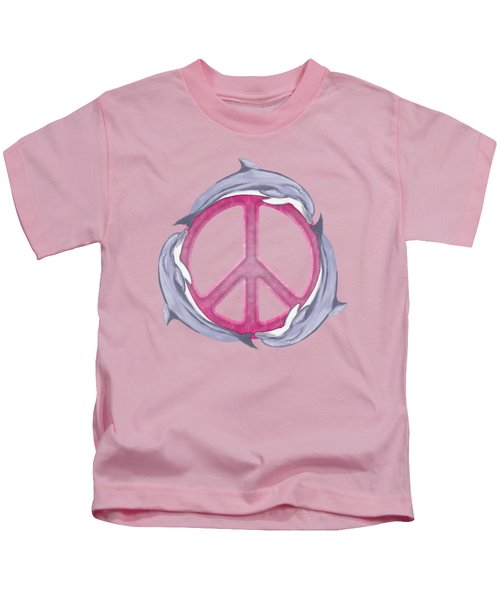 Dolphin Peace Pink Kids T-Shirt by Chris MacDonald