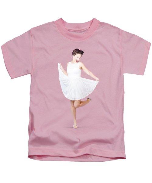 50s Pinup Woman In White Dress Dancing Kids T-Shirt