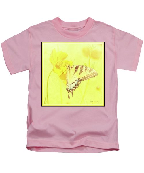 Tiger Swallowtail Butterfly On Cosmos Flower Kids T-Shirt