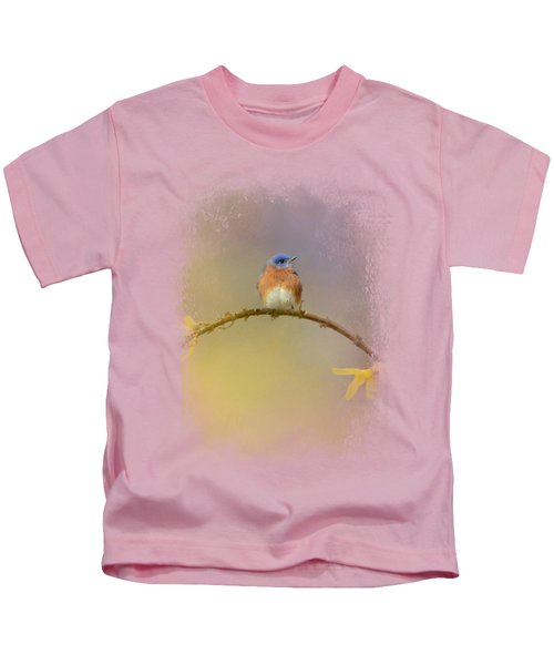 A Little Blue In The Garden Kids T-Shirt by Jai Johnson