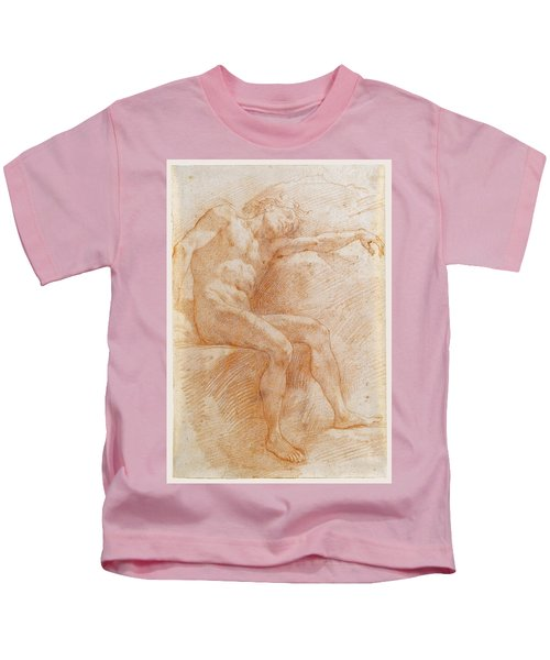 A Male Nude Sleeping Seated And Resting Against A Rock Kids T-Shirt