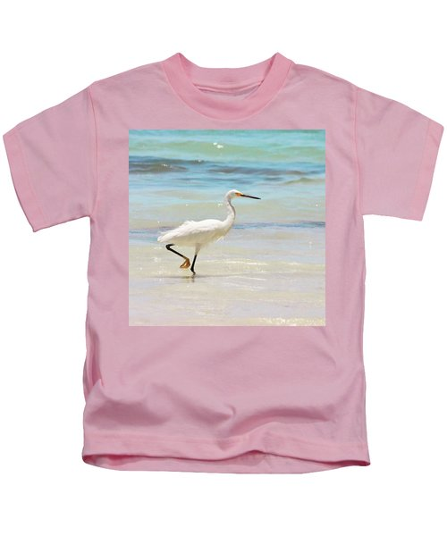 A Snowy Egret (egretta Thula) At Mahoe Kids T-Shirt