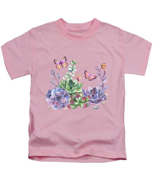 A Splendid Secret Succulent Garden With Butterfly Visitors Kids T-Shirt