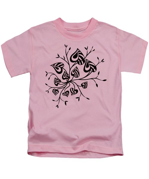 Abstract Floral With Pointy Leaves In Black And White Kids T-Shirt