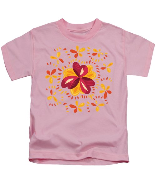 Abstract Pink And Yellow Clover Kids T-Shirt
