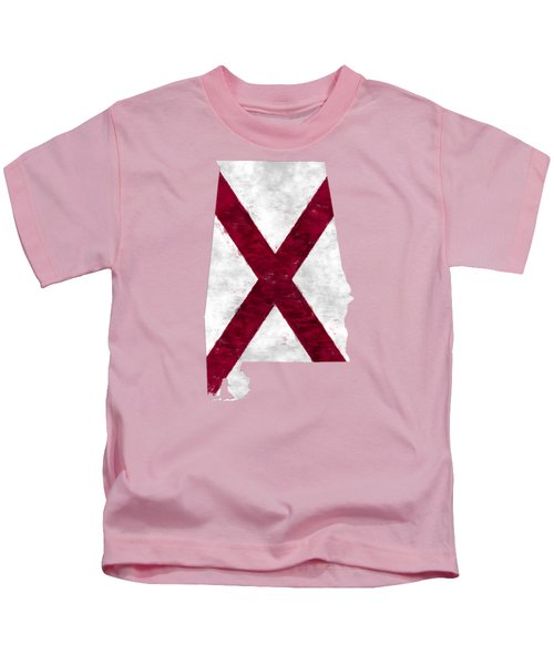 Alabama Map Art With Flag Design Kids T-Shirt