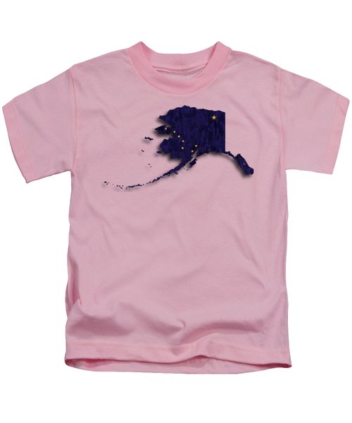 Alaska Map Art With Flag Design Kids T-Shirt