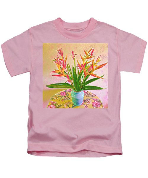 Aloha Bouquet Of The Day Halyconia And Birds In Pink Kids T-Shirt