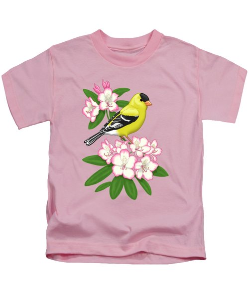 American Goldfinch And Coast Rhododendron Kids T-Shirt