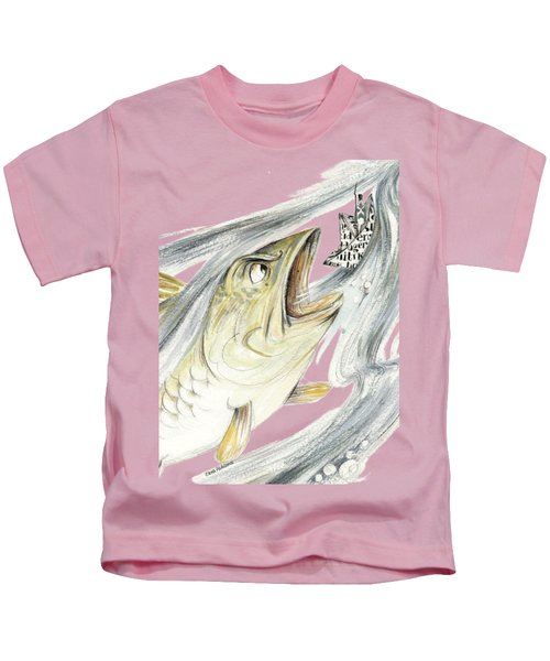 Angry Fish Ready To Swallow Tin Soldier's Paper Boat - Horizontal - Fairy Tale Illustration Fragment Kids T-Shirt by Elena Abdulaeva