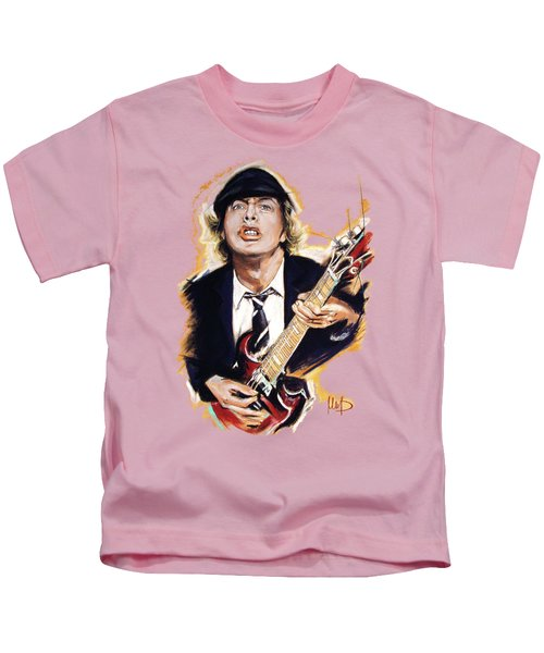 Angus Young Kids T-Shirt by Melanie D