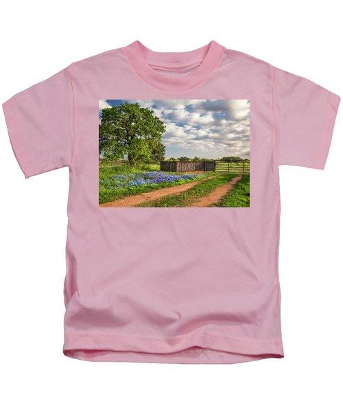 Bluebonnet Ranch Road Kids T-Shirt