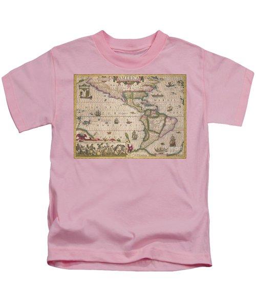 Antique Map Of America Kids T-Shirt