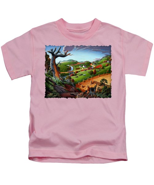 Appalachian Fall Thanksgiving Wheat Field Harvest Farm Landscape Painting - Rural Americana - Autumn Kids T-Shirt