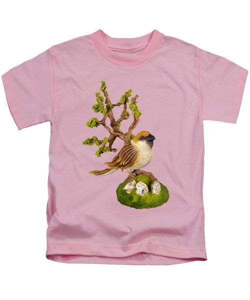 Arborescent Sparrow Kids T-Shirt by Przemyslaw Stanuch