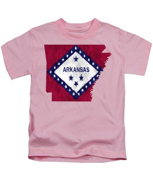 Arkansas Map Art With Flag Design Kids T-Shirt