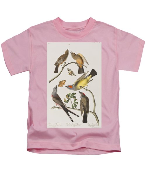 Arkansaw Flycatcher Swallow-tailed Flycatcher Says Flycatcher Kids T-Shirt by John James Audubon
