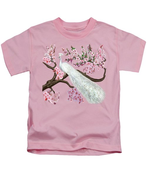 Cherry Blossom Peacock Kids T-Shirt
