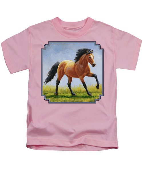 Buckskin Horse - Morning Run Kids T-Shirt