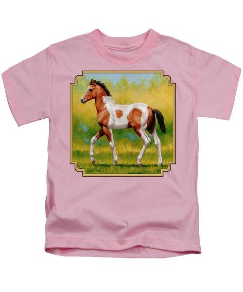 Bay Pinto Foal Kids T-Shirt