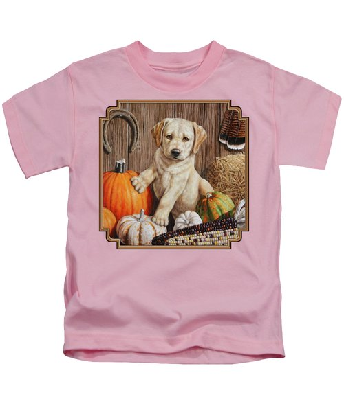 Pumpkin Puppy Kids T-Shirt by Crista Forest