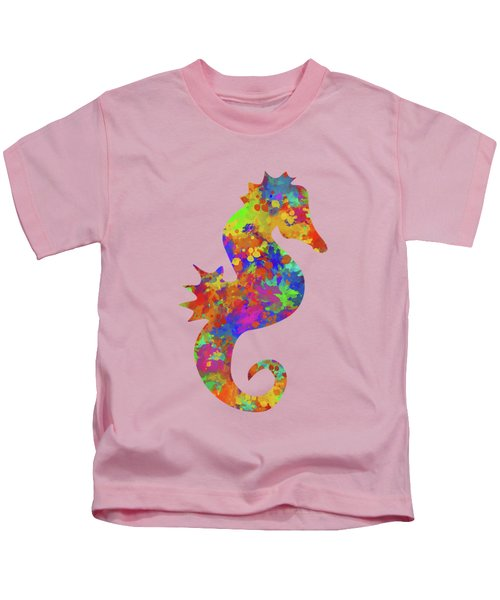 Seahorse Watercolor Art Kids T-Shirt