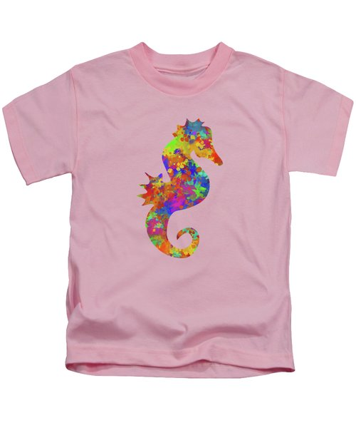 Seahorse Watercolor Art Kids T-Shirt