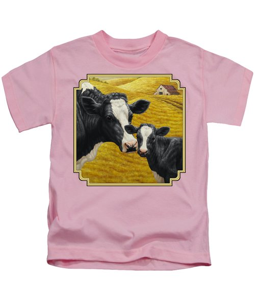 Holstein Cow And Calf Farm Kids T-Shirt