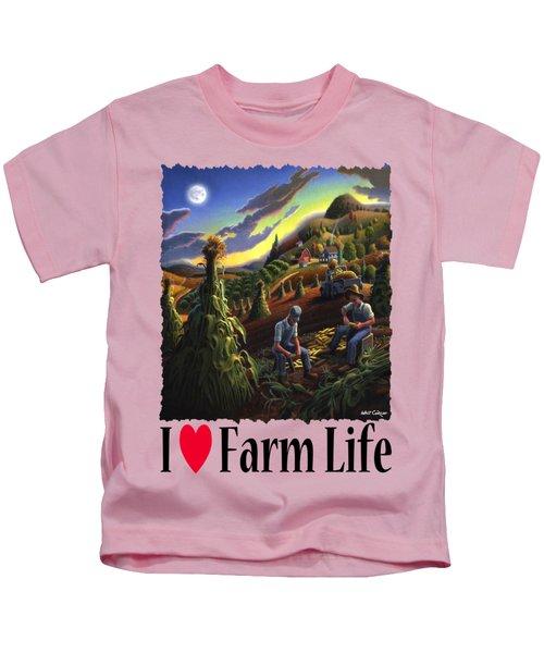 I Love Appalachia - Farmers Shucking Corn Til Sunset - Rural Farm Landscape Kids T-Shirt