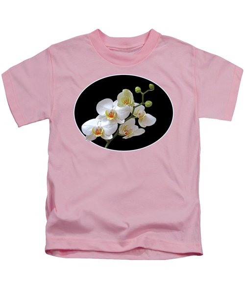 Orchids On Black And Gold Kids T-Shirt by Gill Billington