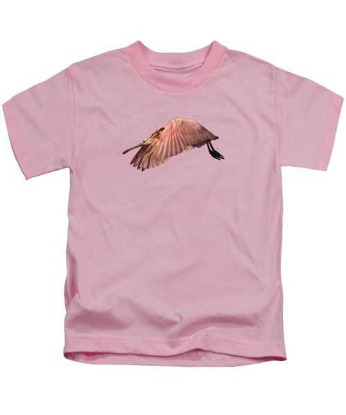 Roseate Spoonbill In Flight Kids T-Shirt
