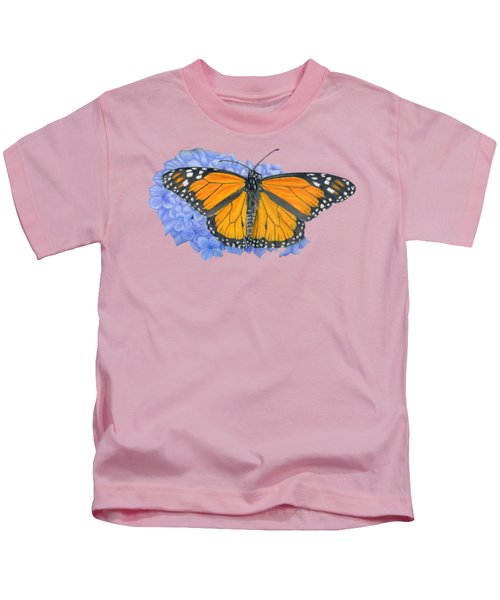 Monarch Butterfly And Hydrangea- Transparent Background Kids T-Shirt by Sarah Batalka