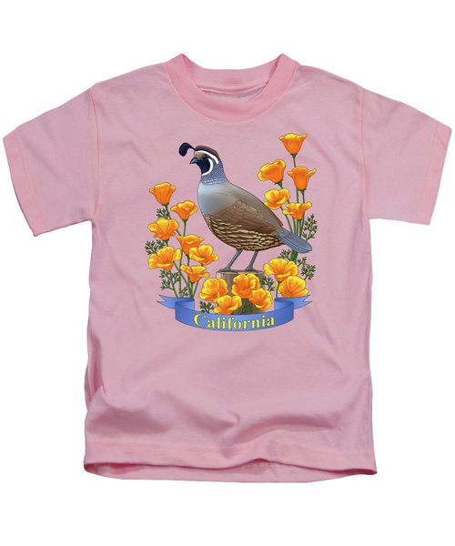 California Quail And Golden Poppies Kids T-Shirt