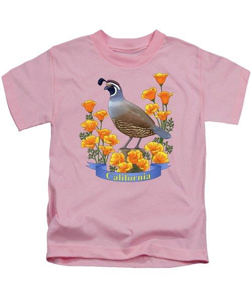 California Quail And Golden Poppies Kids T-Shirt
