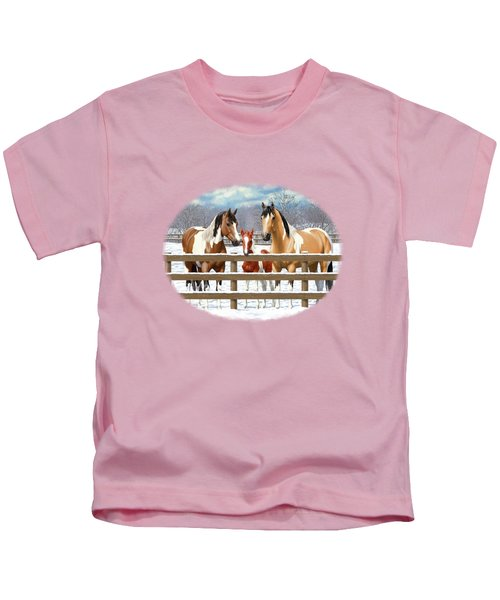 Paint Horses In Winter Corral Kids T-Shirt