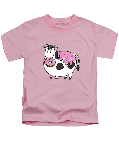 Funny Fat Holstein Cow Sprinkle Doughnut Kids T-Shirt by Crista Forest