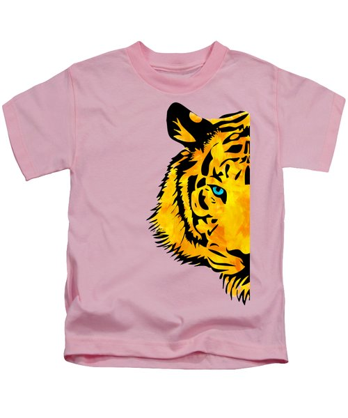 Half Tiger Digital Painting Kids T-Shirt