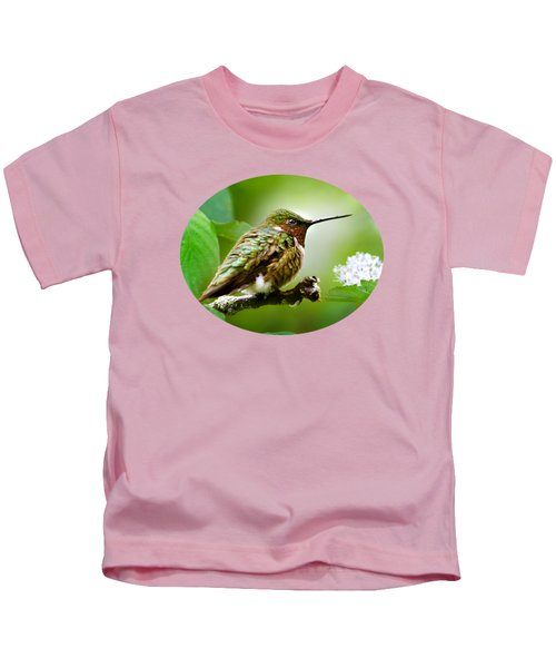 Male Ruby-throated Hummingbird At Rest Kids T-Shirt