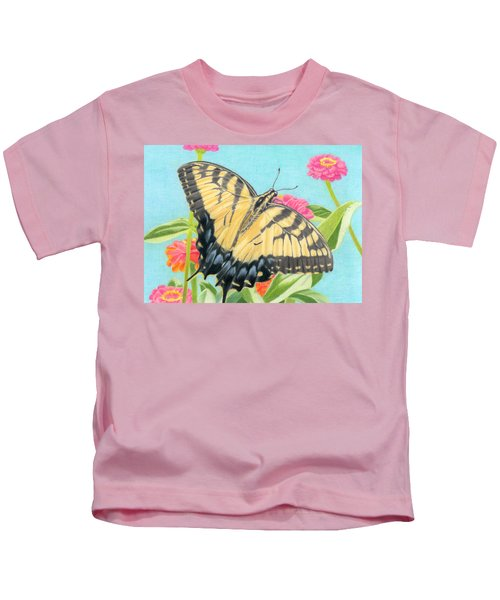 Swallowtail Butterfly And Zinnias Kids T-Shirt by Sarah Batalka