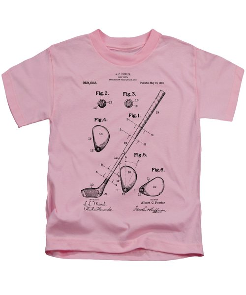 Vintage 1910 Golf Club Patent Artwork Kids T-Shirt