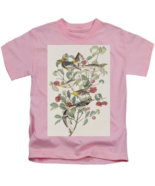 Audubons Warbler Hermit Warbler Black-throated Gray Warbler Kids T-Shirt by John James Audubon