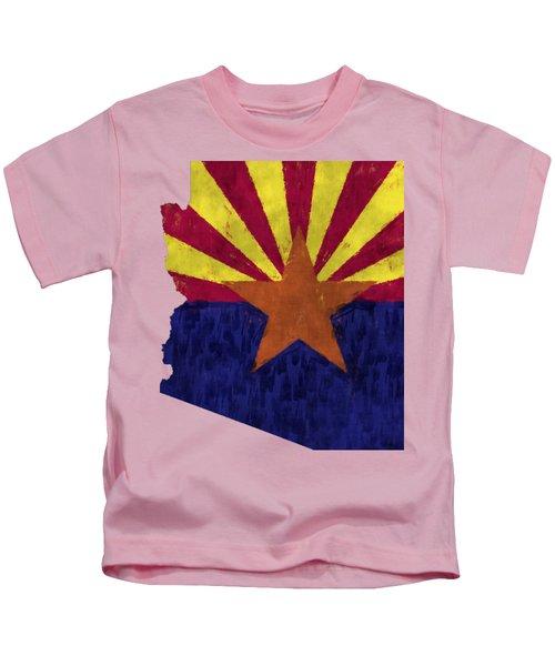 Azizona Map Art With Flag Design Kids T-Shirt