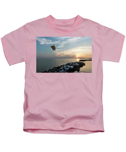 Bald Eagle Flying Over A Jetty At Sunset Kids T-Shirt