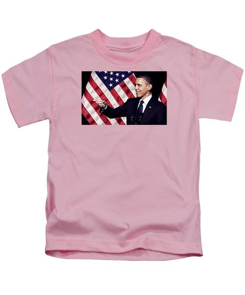 Barack Obama Kids T-Shirt by Iguanna Espinosa