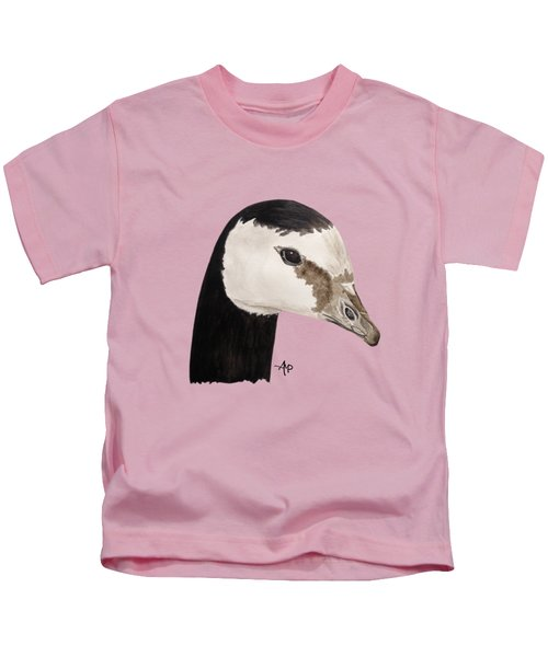 Barnacle Goose Portrait Kids T-Shirt by Angeles M Pomata