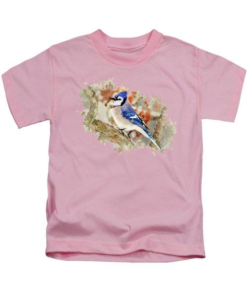 Beautiful Blue Jay - Watercolor Art Kids T-Shirt by Christina Rollo