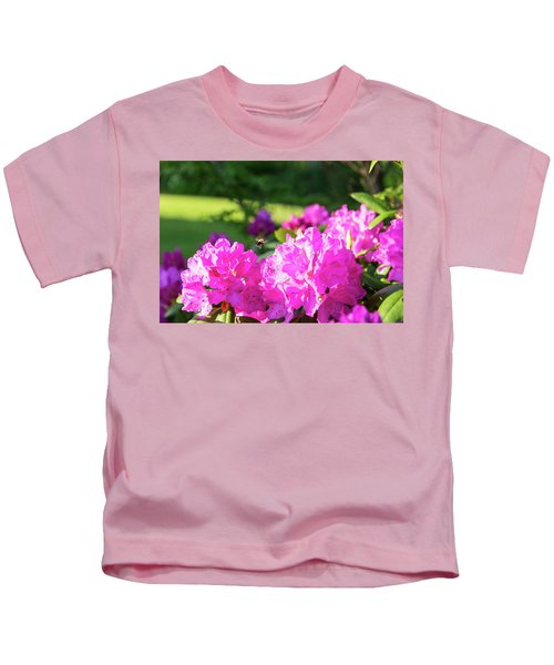 Bee Flying Over Catawba Rhododendron Kids T-Shirt