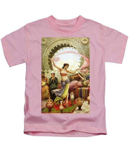 Belly Dancer In Harem Paintings For Sale, Art Vintage Poster, Odalisque, Orientalist, Harem, Egypt Kids T-Shirt