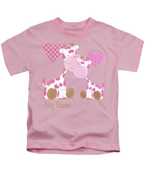 Big Sister Cute Baby Giraffes And Hearts Kids T-Shirt by Tina Lavoie